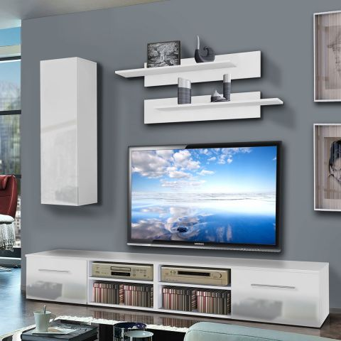 meuble tv mural invento i 240cm blanc. Black Bedroom Furniture Sets. Home Design Ideas