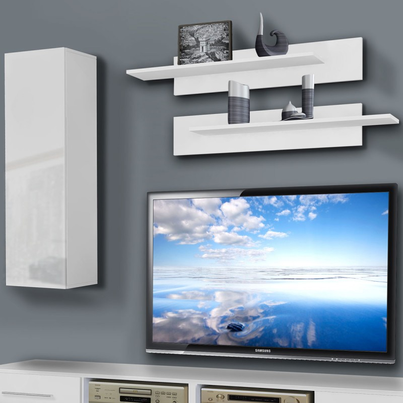 Meuble tv mural invento i 240cm blanc for Meuble tv mural 240 cm blanc gris adhara