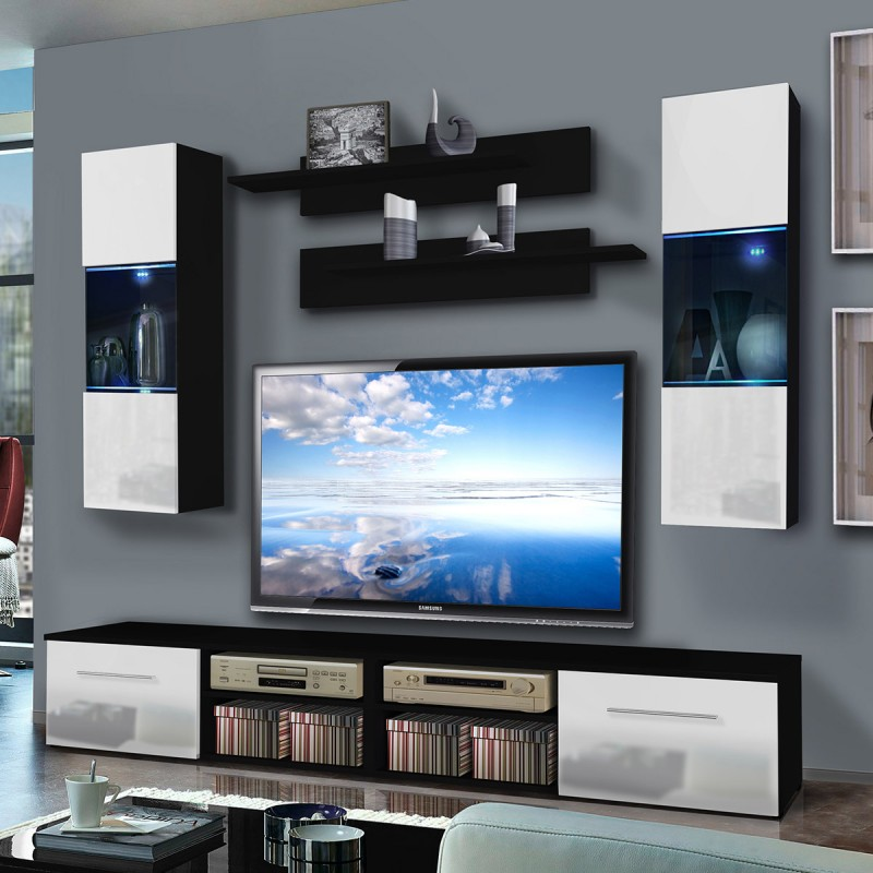 meuble tv mural invento iii twin 240cm blanc noir. Black Bedroom Furniture Sets. Home Design Ideas