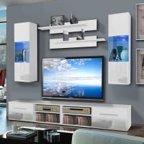 "Meuble TV Mural ""Invento III Twin"" 240cm Blanc"