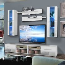 "Meuble TV Mural ""Invento II Twin"" 240cm Blanc"