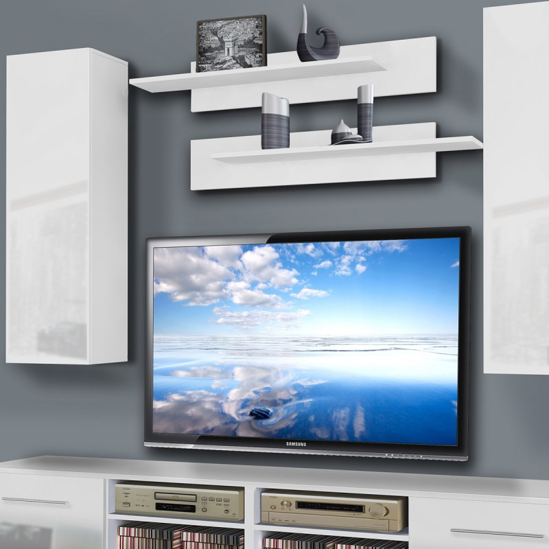meuble tv mural invento i twin 240cm blanc. Black Bedroom Furniture Sets. Home Design Ideas