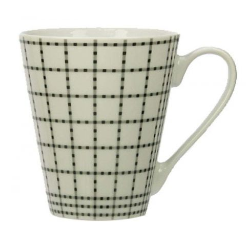 "Mug Conique ""Carreaux Blanc"" en Porcelaine"