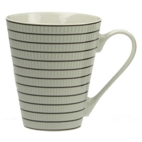 "Mug Conique ""Rayé Blanc"" en Porcelaine"