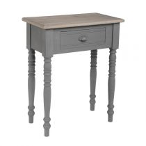 "Table de Chevet 1 Tiroir ""Memories"" 65cm Gris"
