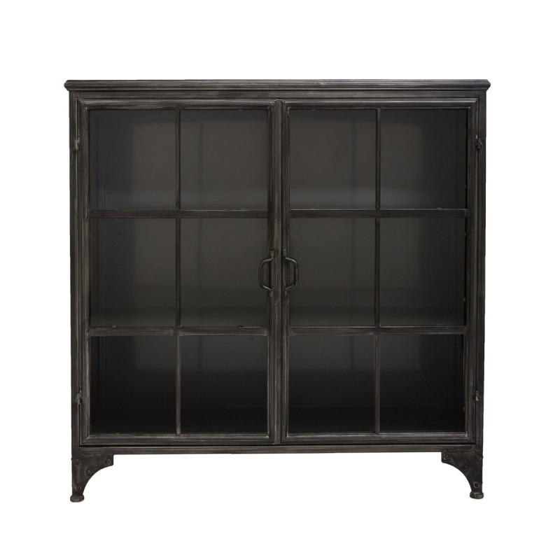 buffet avec vitrine brocante 102cm noir. Black Bedroom Furniture Sets. Home Design Ideas