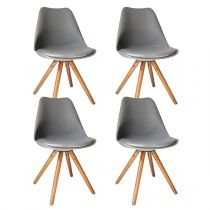 "Lot de 4 Chaises Design ""Raku"" 81cm Gris"