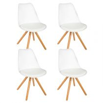 "Lot de 4 Chaises Design ""Raku"" 81cm Blanc"