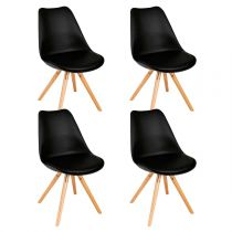 "Lot de 4 Chaises Design ""Raku"" 81cm Noir"