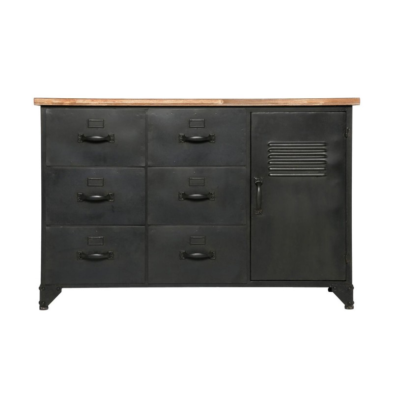 commode 6 tiroirs 1 porte torof 108cm noir. Black Bedroom Furniture Sets. Home Design Ideas