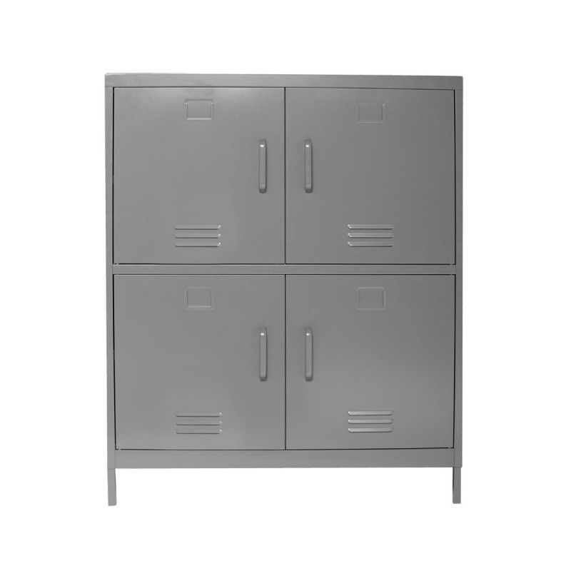buffet 4 portes m tal karel 111cm gris. Black Bedroom Furniture Sets. Home Design Ideas