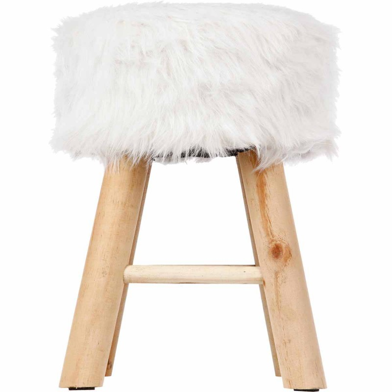 tabouret imitation fourrure instants nature 42cm blanc. Black Bedroom Furniture Sets. Home Design Ideas
