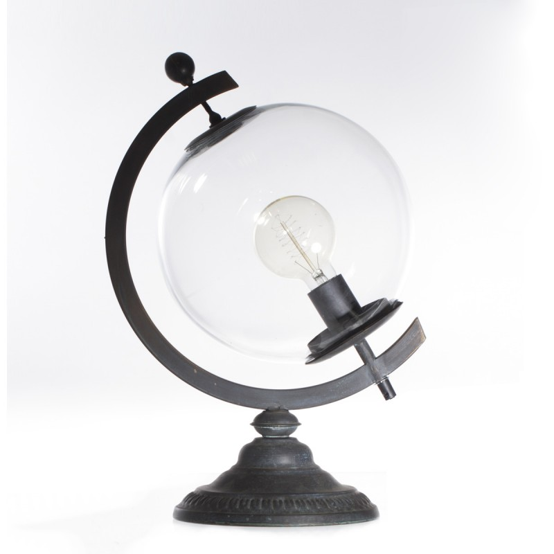 lampe poser m tal globe 44cm noir. Black Bedroom Furniture Sets. Home Design Ideas
