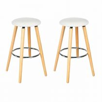 "Lot de 2 Tabourets de Bar ""Naor"" Blanc"