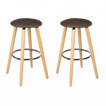 "Lot de 2 Tabourets de Bar ""Naor"" Taupe"