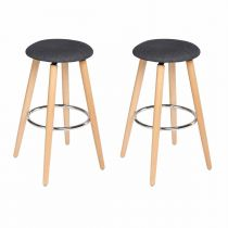 "Lot de 2 Tabourets de Bar ""Naor"" Gris"