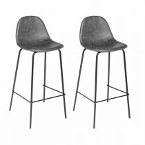 "Lot de 2 Tabourets de Bar ""Vladi"" Gris"