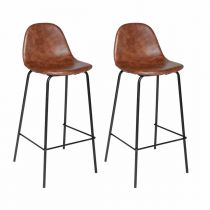 "Lot de 2 Tabourets de Bar ""Vladi"" Marron"