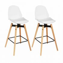 "Lot de 2 Tabourets de Bar ""Wilio"" Blanc"