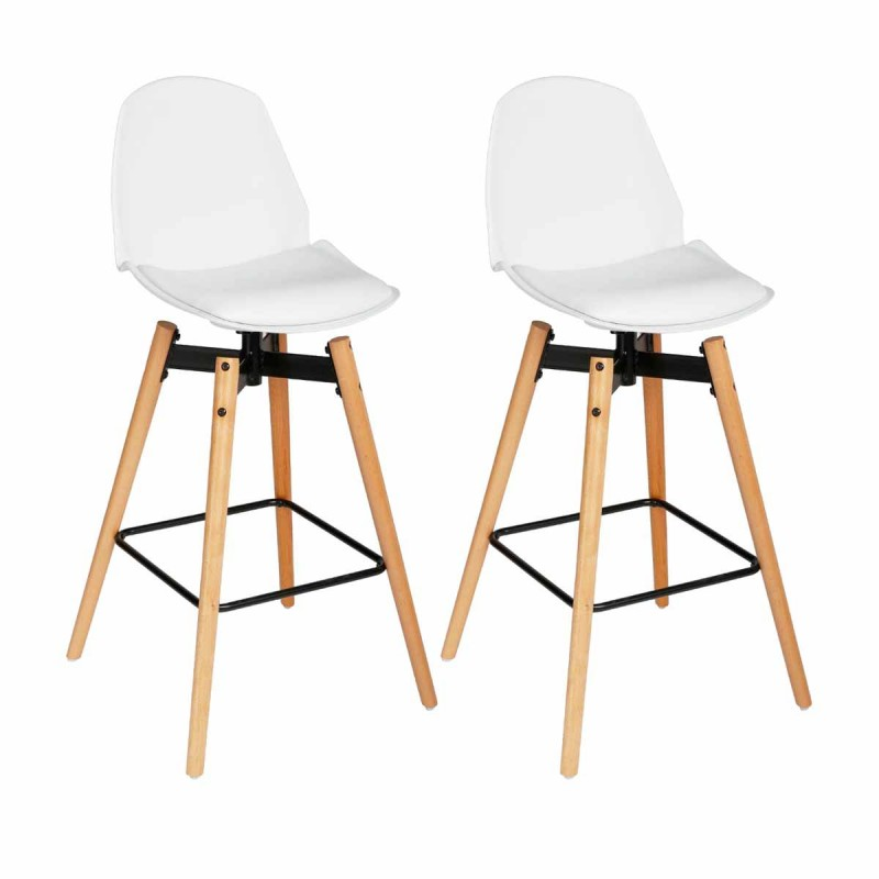 lot de 2 tabourets de bar wilio blanc. Black Bedroom Furniture Sets. Home Design Ideas