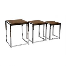 "Lot de 3 Tables d'Appoint ""Suédine"" 50cm Marron"