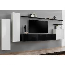 "Meuble TV Mural Design ""Switch I"" 330cm Blanc & Noir"