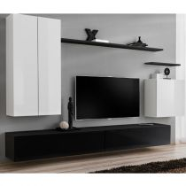 "Meuble TV Mural Design ""Switch II"" 270cm Blanc & Noir"