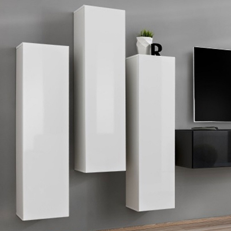 Meuble tv mural design switch iii 330cm blanc noir for Meuble mural noir et blanc