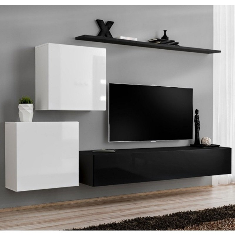 meuble tv mural design switch v 250cm blanc noir. Black Bedroom Furniture Sets. Home Design Ideas