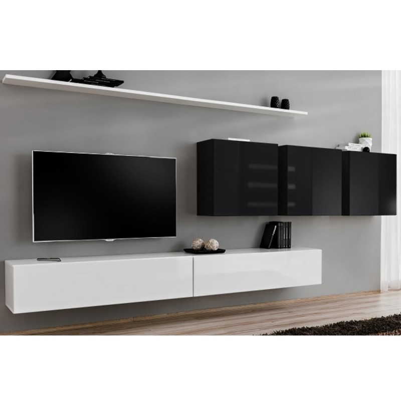 Meuble tv mural design switch vii 330cm blanc noir for Meuble mural noir et blanc