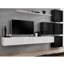"Meuble TV Mural Design ""Switch IX"" 310cm Blanc & Noir"