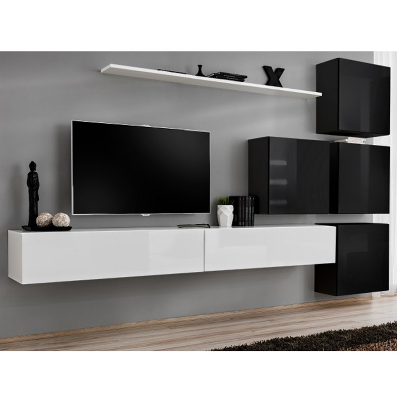 Meuble tv mural design switch ix 310cm blanc noir for Meuble tv mural design