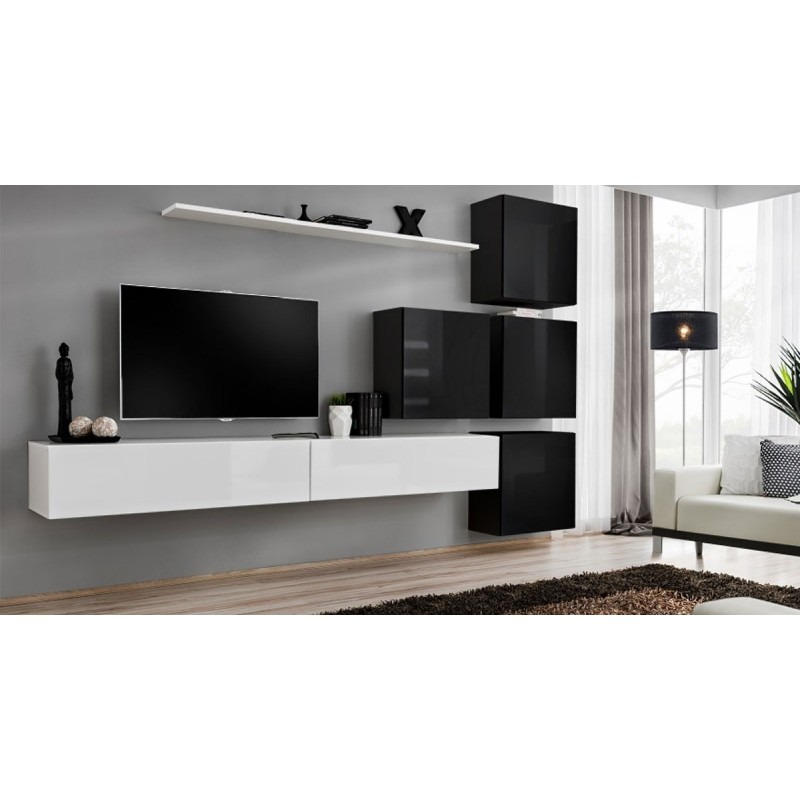 Meuble tv mural design switch ix 310cm blanc noir for Meuble mural noir et blanc
