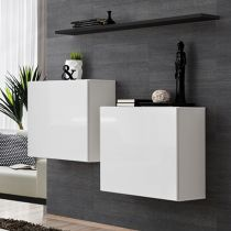 "Lot de 2 Blocs & Étagère ""Switch SBI"" 130cm Blanc & Noir"