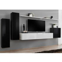 "Meuble TV Mural Design ""Switch I"" 330cm Noir & Blanc"