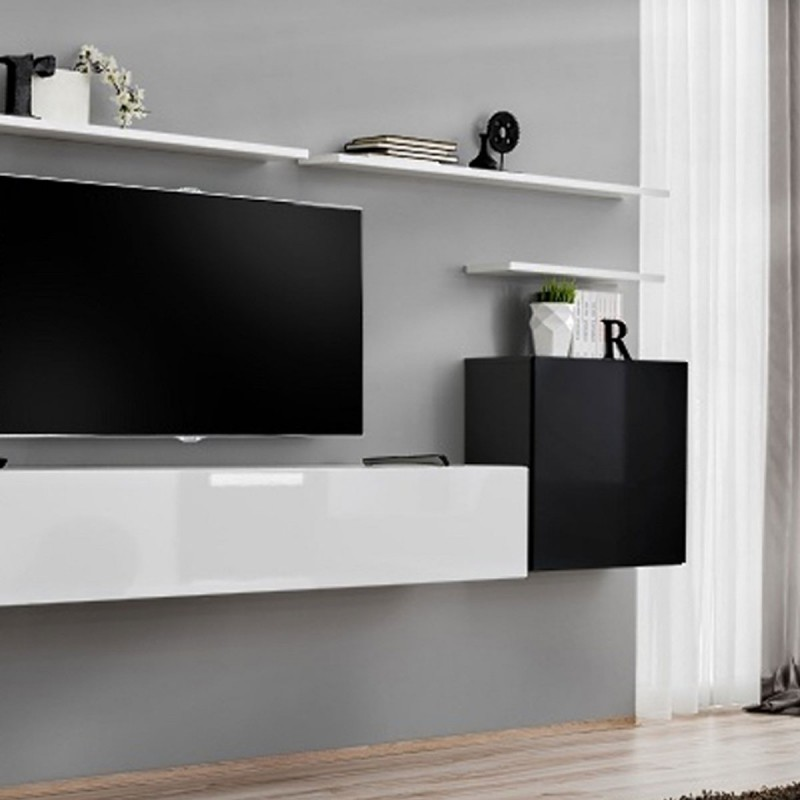 Meuble tv mural design switch i 330cm noir blanc for Meuble mural noir et blanc