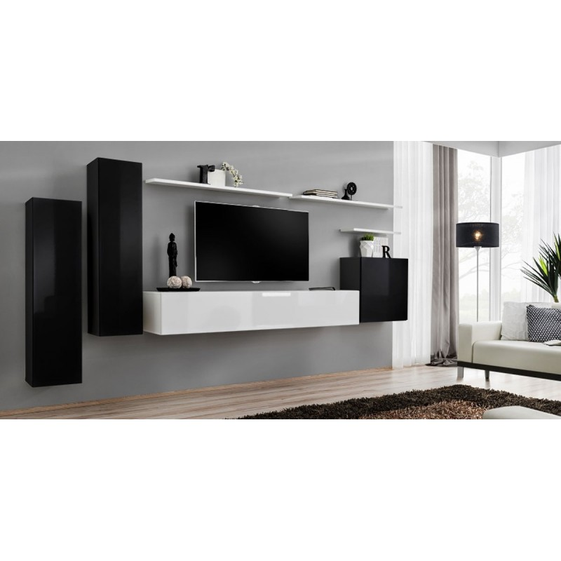 Meuble tv mural design switch i 330cm noir blanc for Meuble tv mural design