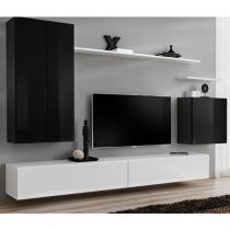 "Meuble TV Mural Design ""Switch II"" 270cm Noir & Blanc"