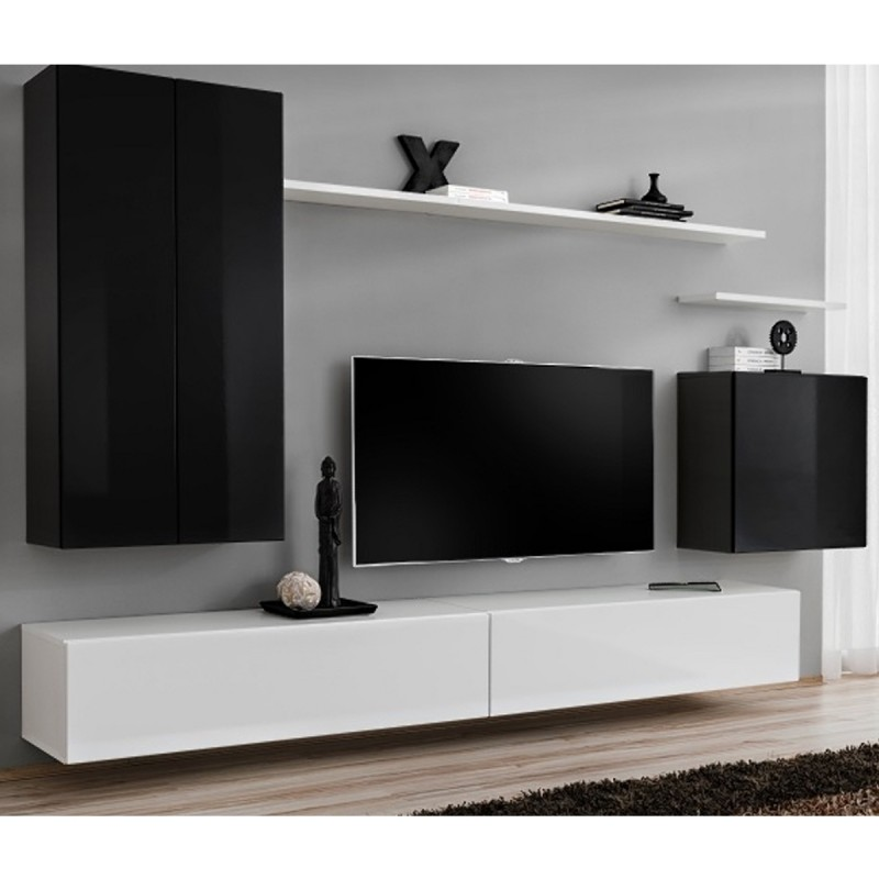 Meuble tv mural design switch ii 270cm noir blanc for Meuble tv noir blanc