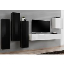 "Meuble TV Mural Design ""Switch III"" 330cm Noir & Blanc"