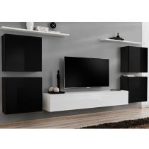 "Meuble TV Mural Design ""Switch IV"" 320cm Noir & Blanc"