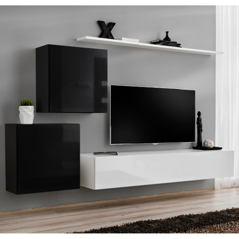 Meuble tv mural design switch v 250cm noir blanc for Meuble mural 160 cm