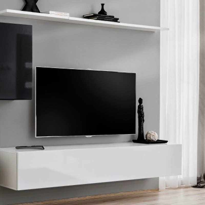 meuble tv mural design switch v 250cm noir blanc. Black Bedroom Furniture Sets. Home Design Ideas