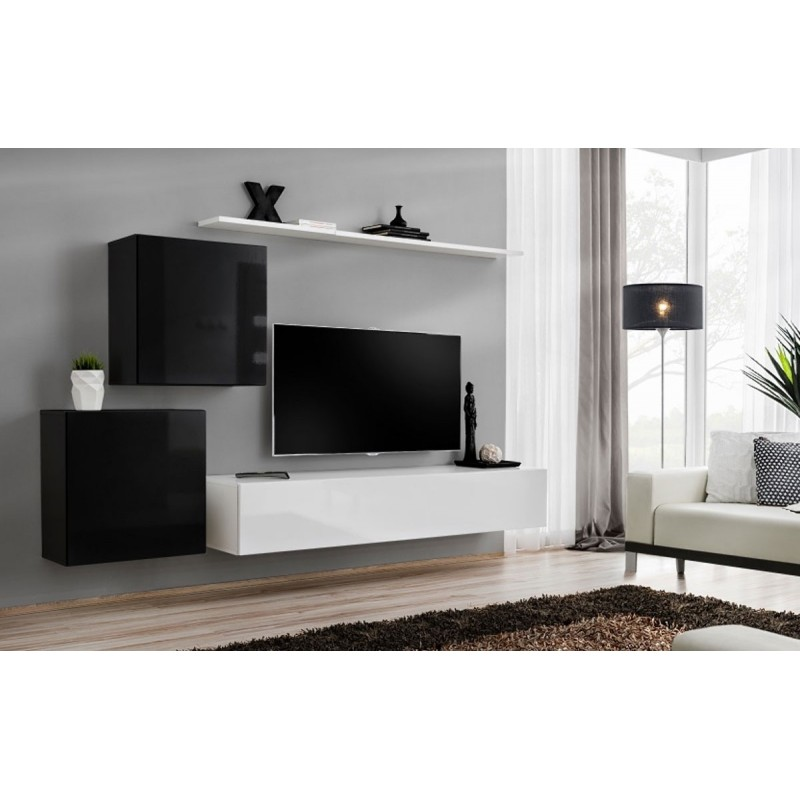 Meuble tv mural design switch v 250cm noir blanc for Meuble mural noir et blanc