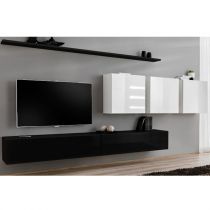 "Meuble TV Mural Design ""Switch VII"" 330cm Noir & Blanc"