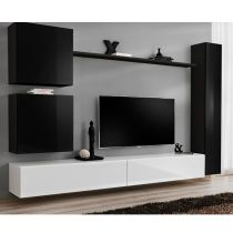 "Meuble TV Mural Design ""Switch VIII"" 280cm Noir & Blanc"