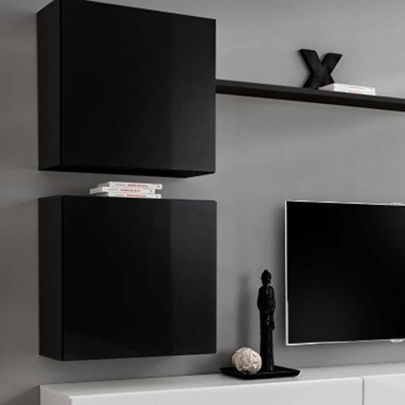 Meuble tv mural design switch viii 280cm noir blanc for Meuble tv design noir