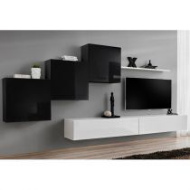 "Meuble TV Mural Design ""Switch X"" 330cm Noir & Blanc"