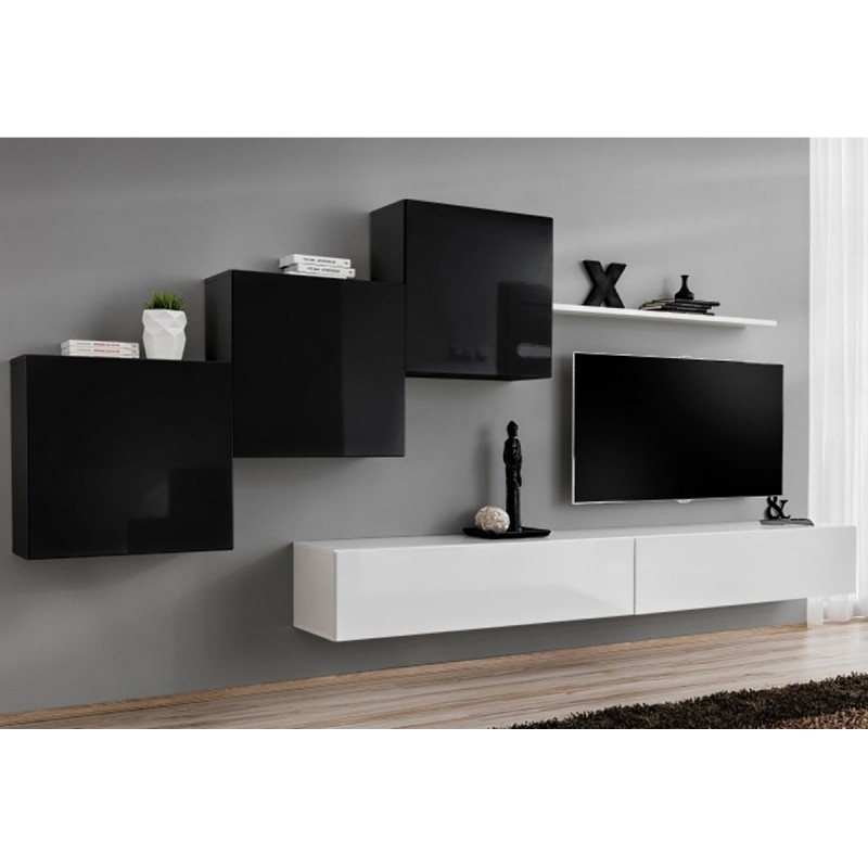 Meuble tv mural design switch x 330cm noir blanc for Meuble mural noir et blanc