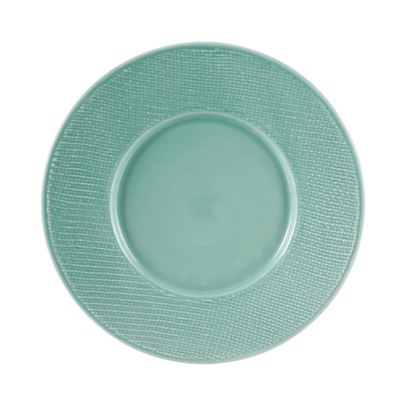 lot de 6 assiettes plates torsade 29cm turquoise. Black Bedroom Furniture Sets. Home Design Ideas